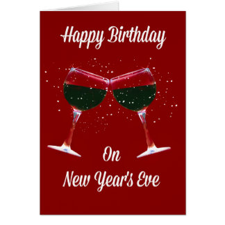 Happy Birthday New Year's Eve Card