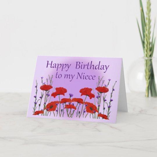 Happy Birthday Niece Field Of Poppies Card Zazzle