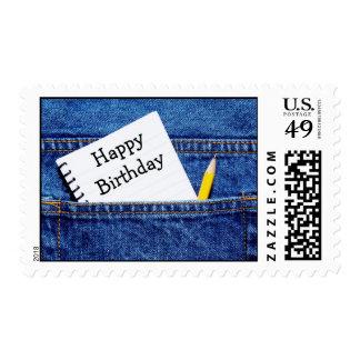 Happy Birthday Notebook in Pocket Postage