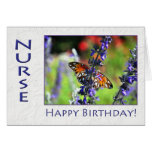 Happy Birthday Nurse Floral Butterfly Greeting Cards