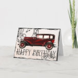 """Happy Birthday Old Chap Card<br><div class=""""desc"""">Still running after all these years! He's not old,  he's vintage. Art from ArtsyBee at pixabay.</div>"""
