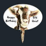 "Happy Birthday Old Goat Humor Cake Topper<br><div class=""desc"">Great for the person with a sense of humor.   Happy Birthday old goat</div>"
