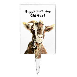 Happy Birthday Old Goat Humor Cake Toppers