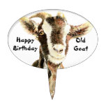 Happy Birthday Old Goat Humor Oval Cake Pick