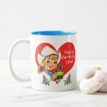 """Happy Birthday Oma Grandma Dutch Girl & Tulips Two-Tone Coffee Mug<br><div class=""""desc"""">Everyone loves a sweet Dutch girl! This cute blonde vintage 'meisje' spreads love and cheer with tulips and a smile. Adorable way to say """"Happy Birthday"""" to your Dutch Oma (Grandma), or personalize the text however you wish! • Art elements may be moved or re-sized as you wish! Click the...</div>"""