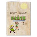 Happy Birthday on Earth Day Stick Kids Word Art Card