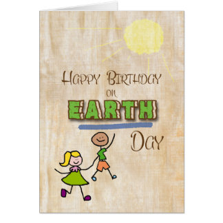 Happy Birthday on Earth Day Stick Kids Word Art Card