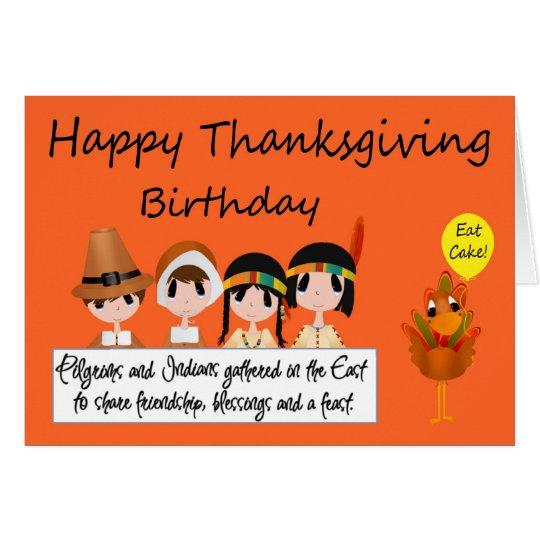 Happy Birthday On Thanksgiving Greeting Card Zazzle Com
