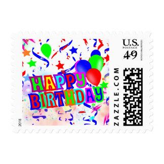 happy birthday or birthday party invitation postage stamp