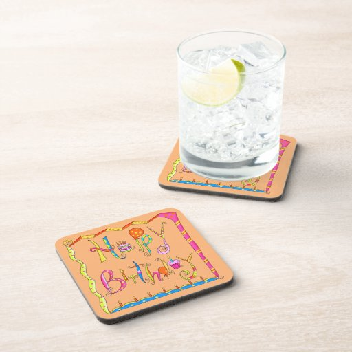 Happy Birthday Orange  Cork Coaster Set