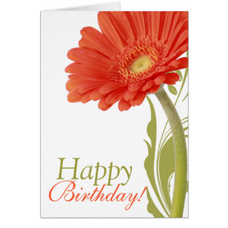 Happy Birthday   Orange Gerbera Daisy Card