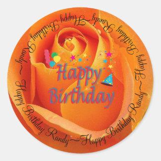 Happy Birthday Orange Rose Classic Round Sticker