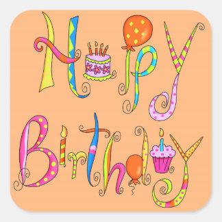 Happy Birthday Orange Sticker