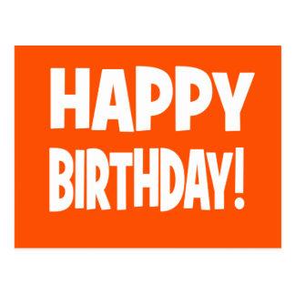 """HAPPY BIRTHDAY"" Orange/White Postcard"