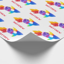 Happy Birthday Outer Space Rainbow Rocket Ship Wrapping Paper