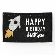 Happy Birthday Outer Space Silver Gold Rocket Kids Banner