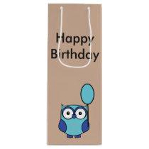 Happy Birthday Owl Blue and Aqua Wine Gift Bag