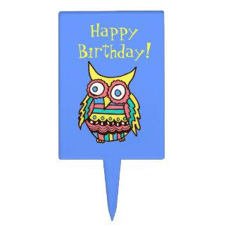 Happy Birthday Owl Cake Pick