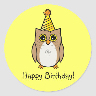 Happy Birthday Owl Classic Round Sticker
