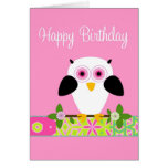 Happy Birthday Owl on a String Greeting Card