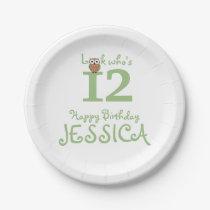 Happy Birthday Owl Paper Plate