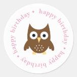 {happy birthday} owl sticker