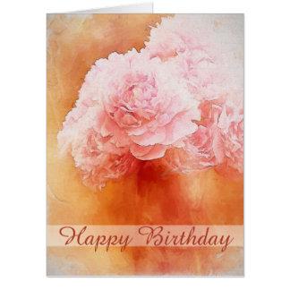 Happy Birthday Painted Peonies Card