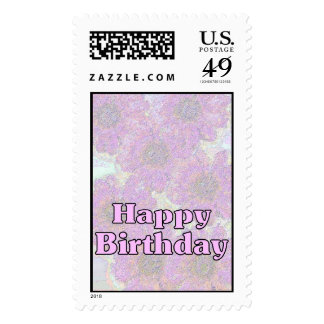 Happy Birthday Pale Pink Flowers Postage Stamp