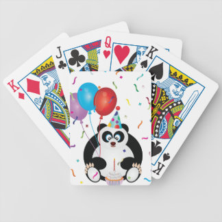 Happy Birthday Panda Bear Illustration Bicycle Playing Cards