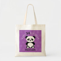 Happy Birthday Panda Personalized Kids Purple Girl Tote Bag