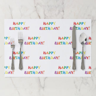 """""""Happy Birthday"""" Paper Placemats"""
