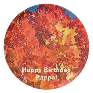 Happy Birthday Pappa! plates Grandpa Autumn Leaves