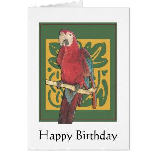 Happy Birthday Parrot Art Card