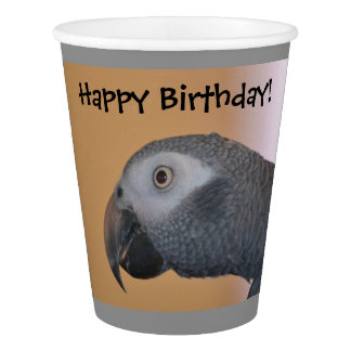 Happy Birthday Parrot Paper Cups