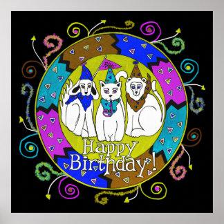 Happy Birthday Party Animals Poster Cat Dog Lion