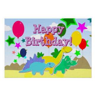Happy Birthday Party Balloons Dinosaurs Poster