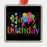 Happy Birthday Party Balloons Metal Ornament
