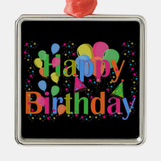 Happy Birthday Party Balloons Metal Ornament