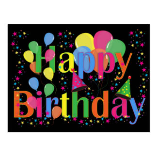 Happy Birthday Party Balloons Postcard