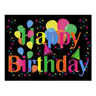 Happy Birthday Party Balloons Postcards
