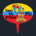 """Happy Birthday Party Bear Cake Topper<br><div class=""""desc"""">Kids Birthday Party Pick. 100% Customizable. Ready to Fill in the box(es) or Click on the CUSTOMIZE button to add, move, delete, resize or change any of the font or graphics. Made with high resolution vector and/or digital graphics for a professional print. NOTE: (THIS IS A PRINT. All zazzle product...</div>"""