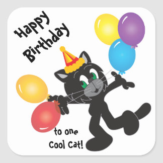 Happy Birthday Party Cool Cat Stickers