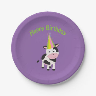Happy Birthday! Party Cow Paper Plate