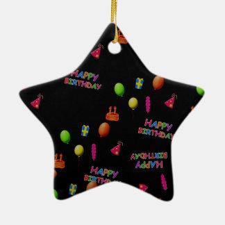 Happy Birthday Party Decor Balloons Hat Cake Text Ceramic Ornament