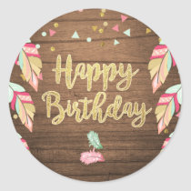 Happy birthday Party Favor Tags Sticker Wood Gold