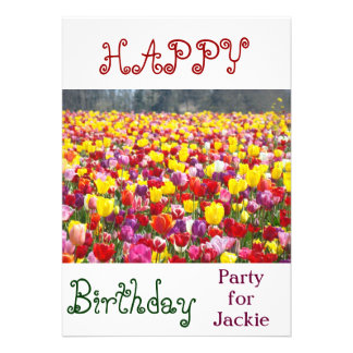 Happy Birthday Party for Your Name! Tulip Flowers Custom Invitation