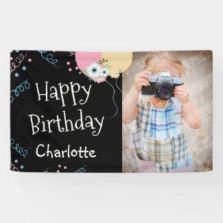 Happy Birthday Party Girly One Photo Black Banner