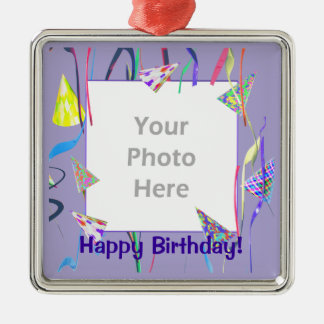 Happy Birthday Party Hats (photo frame) Metal Ornament