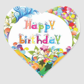 Happy Birthday Party Heart Sticker