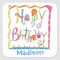 Happy Birthday Party Name Personalized White Square Sticker